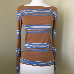 Gap Mustard Striped Long Sleeved Shirt Boat Neck